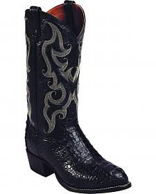 Tony Lama Black Royal Hornback Caiman Exotic Cowboy Boots - Round Toe