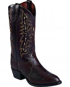 Tony Lama Chocolate Lizard Exotics Cowboy Boots - Round Toe