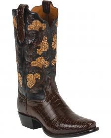 Tony Lama Kango Hand-Tooled Signature Series Nile Crocodile Western Boots - Square Toe