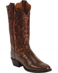 Tony Lama Whiskey Hand-Tooled Signature Series Nile Crocodile Western Boots - Square Toe