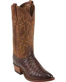 Tony Lama Cognac Vintage Belly Caiman Cowboy Boots - Round Toe