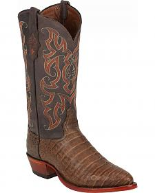 Tony Lama Chocolate Vintage Belly Exotics Caiman Western Boots - Round Toe