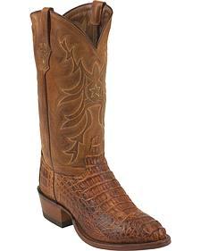 Tony Lama Cognac Vintage Exotics Hornback Caiman Cowboy Boots - Round Toe