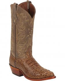 Tony Lama Gold and Tan Vintage Exotics Hornback Caiman Cowboy Boots - Round Toe