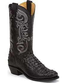 Nocona Black Hornback Gator Grain Gentleman's Cowboy Boots - Square Toe