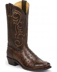 Nocona Tobacco Ostrich Grain Gentleman's Cowboy Boots - Square Toe
