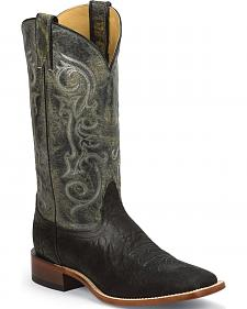 Nocona Black Elephant Grain Cowboy Boots - Square Toe