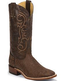Nocona Chocolate Elephant Grain Cowboy Boots - Square Toe
