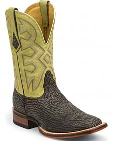 Nocona Beige Nubuck Shark Let's Rodeo Western Boots - Square Toe
