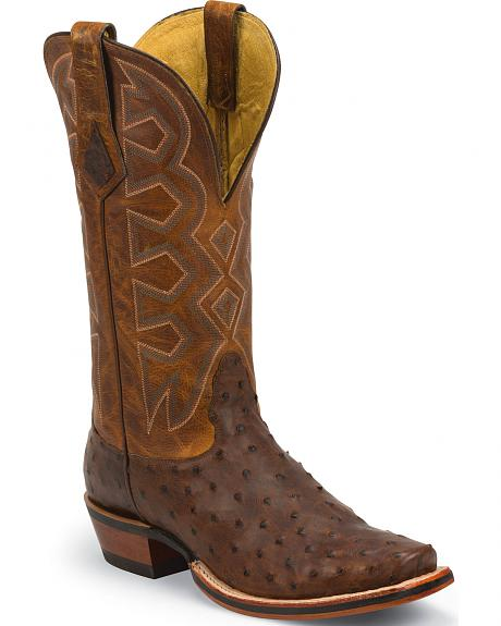 Nocona Sienna Soft Pull-Up Full Quill Ostrich Let's Rodeo Cowboy Boots - Square Toe