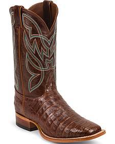 Nocona Men's Cognac Premium Caiman Western Boots - Square Toe