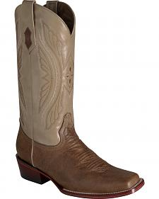 Ferrini Men's Antique Tan Kangaroo Western Boots - Square Toe
