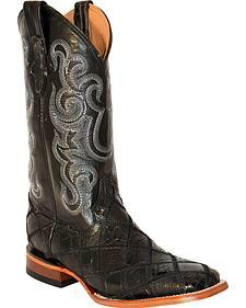 Ferrini Men's Patchwork Gator Ostrich Cowboy Boots - Square Toe