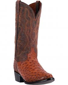 Dan Post Men's Tempe Full Quill Ostrich Cowboy Boots - Round Toe