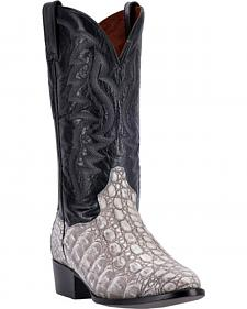 Dan Post Grey and Black Caiman Birmingham Cowboy Boots - Round Toe