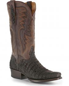 El Dorado Chocolate Caiman Belly Cowboy Boots - Square Toe