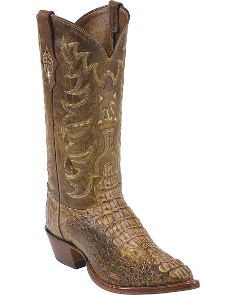 Tony Lama Tan Vintage Hornback Caiman Exotic Cowboy Boots - Pointed Toe