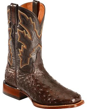 Dan Post Tobacco Brown Quilled Ostrich Cowboy Boots - Square Toe