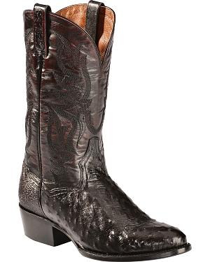 Dan Post Black Cherry Quilled Ostrich Cowboy Boots - Round Toe