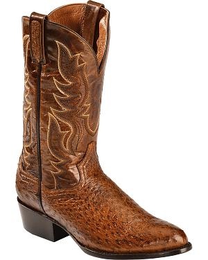 Dan Post Cognac Quilled Ostrich Cowboy Boots - Round Toe
