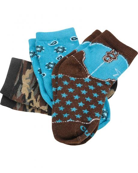 Justin Little Cowpokes Boys' Assorted Socks - 3 Pack