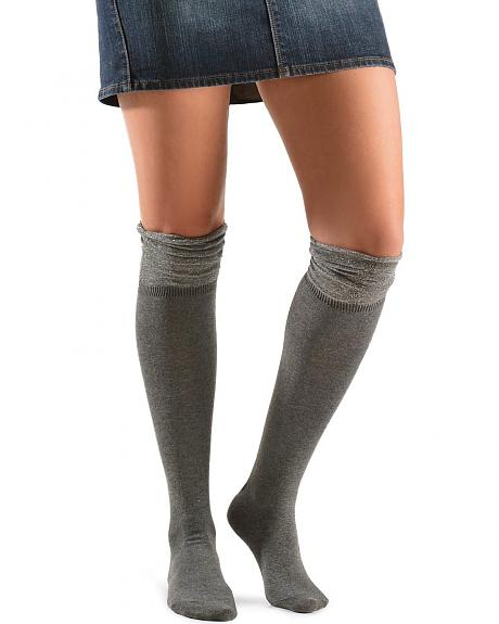 Blazin Roxx Grey Sparkle Knee-High Socks