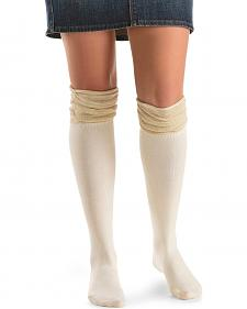 Blazin Roxx Cream with Gold Sparkle Knee-High Socks