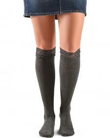 Blazin Roxx Grey Lace Top Knee-High Socks