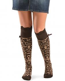 Blazin Roxx Leopard Print with Lace Knee-High Socks