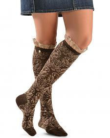 Blazin Roxx Two-Tone Floral Embroiderd with Lace Knee-High Socks