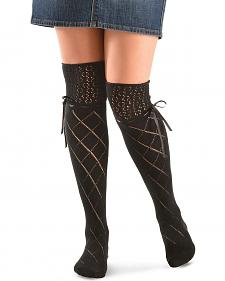 Blazin Roxx Black Crochet with Ribbon Knee-High Socks