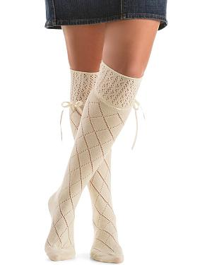 Blazin Roxx Cream Crochet with Ribbon Knee-High Socks