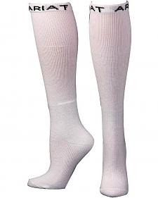 Ariat Men's Over the Calf White Boot Socks - 2 Pack