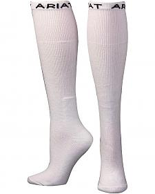 Ariat Men's Over the Calf White Boot Socks