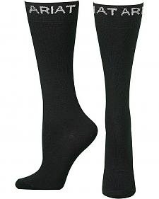 Ariat Men's Thin Black Boot Socks