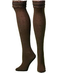 Blazin Roxx Brown Lace Top Knee-High Socks