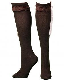 Blazin Roxx Brown Ribbon & Lace Knee-High Socks