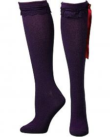 Blazin Roxx Purple Lace & Ribbon Knee-High Socks