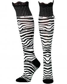 Blazin Roxx Zebra Print Lace Top Knee-High Socks