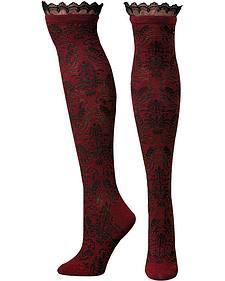 Blazin Roxx Burgundy Scroll & Lace Knee-High Socks