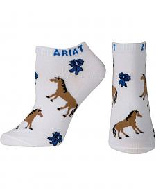 Ariat Blue Ribbons & Horses No Show Socks