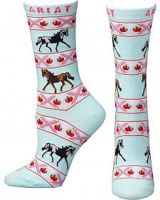Ariat Women's Horses & Cherries Crew Socks