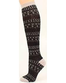 Blazin Roxx Black & Gray Patterned Knee-High Boot Socks