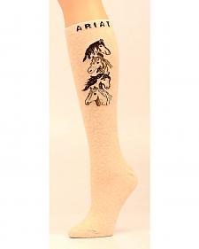 Ariat Women's Knee High Four Horses OSFA Socks
