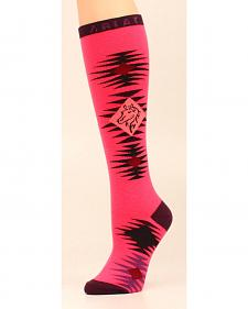 Ariat Women's Knee High Aztec Black & Pink Horse OSFA Socks