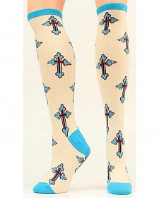 Ariat Turquoise Cross Knee High Socks