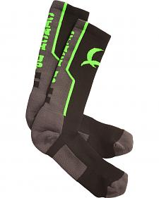 Cinch Men's Grey and Neon Green Boot Socks