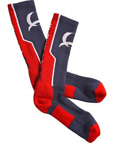 Cinch Men's Blue and Red Crew Socks