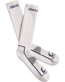 Cinch Men's White and Navy Boot Socks