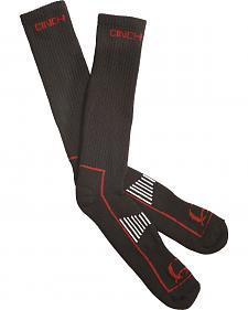Cinch Men's Black and Red Boot Socks